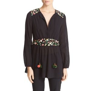 Tory Burch Fleur Tunic Black Floral Top NWT 0